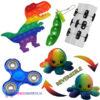 Pop It Fidget Dinosaurus + Infinity Cube + Fidget Cube + Bean Popper + Octopus Mood Knuffel (Regenboog) + Blauwe Fidget Spinner!