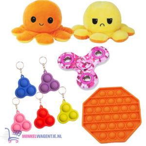 Pop It Fidget Hexagon (Oranje)+ Simple Dimple + Octopus Mood Knuffel (Geel/Oranje) + Luxe Fidget Spinner!