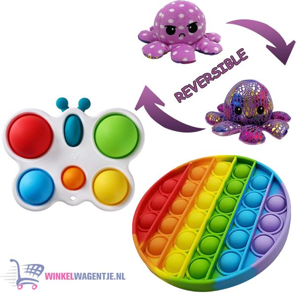 Pop It Fidget Regenboog + Simple Dimple Butterfly + Octopus Mood Knuffel (Shiny Purple)