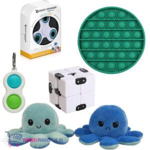 Pop It Fidget Groen+ Simple Dimple + Infinity Cube + Octopus Mood Knuffel (Blauw) + Luxe Fidget Spinner!