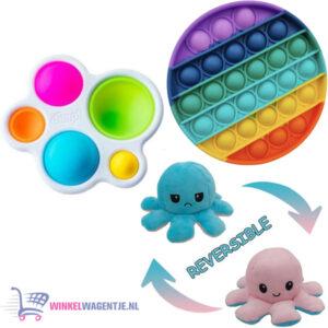 Pop It Fidget Regenboog + Simple Dimple + Octopus Mood Knuffel (Roze/Blauw)