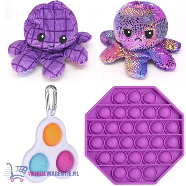 Pop It Fidget Paars Hexagon + Simple Dimple + Octopus Mood Knuffel (Shiny Paars)