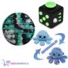 Pop It Fidget Aqua + Fidget Cube + Octopus Mood Knuffel (Shiny Blue)