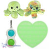 Pop It Fidget Hart (Glow in the dark) + Simple Dimple + Octopus Mood Knuffel (Shiny Green)
