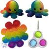 Pop It Fidget Bloem(Regenboog) + Simple Dimple + Octopus Mood Knuffel (Regenboog)