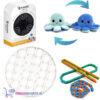 Pop It Fidget Rond (Wit) + Wacky Tracks + Octopus Mood Knuffel (Blauw) + Luxe Fidget Spinner!