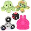 Pop It Fidget Konijn (Roze) + Fidget Cube + Octopus Mood Knuffel (Shiny Green) + Chrome Fidget Spinner!