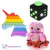 Pop It Fidget Eenhoorn (Regenboog) + Fidget Cube + Octopus Mood Knuffel (Shiny Pink)