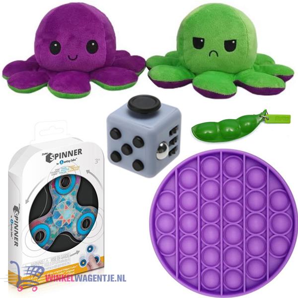 Pop It Fidget Toy Rond (Paars) + Fidget Cube + Bean Popper + Octopus Mood Knuffel (Paars/Groen)