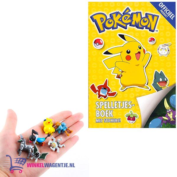 Pokemon spelletjesboek met stickers + 3 Pokemon Mini Speelfiguren + Pokémon Balpen + 3 Pokémon Stickers