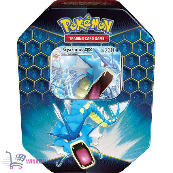 Pokémon Kaarten Hidden Fates Tin (Gyarados) + Pikachu Sleutelhanger en 3 Pokemon Stickers!