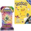 Pokemon spelletjesboek met stickers + Pokemon Kaarten Vivid Voltage Booster Pack + Pikachu Sleutelhanger + 3 Pokémon Stickers