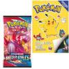 Pokemon spelletjesboek met stickers + Pokemon Kaarten Sword & Shield Battle Styles Booster Pack + Pikachu Sleutelhanger + 3 Pokémon Stickers