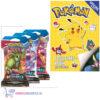 Pokemon spelletjesboek met stickers + 3 Pokemon Kaarten Battle Styles Booster Packs + Pikachu Sleutelhanger + 3 Pokémon Stickers