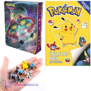 Pokemon spelletjesboek met stickers + Pokemon Portfolio (Kaarten Mapje) + 3 Pokemon Mini Speelfiguren 2 cm + Pikachu Sleutelhanger + 3 Pokémon Stickers