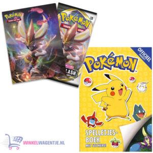 Pokemon spelletjesboek met stickers + Pokémon Sword & Shield Rebel Clash Mini Portfolio + Pikachu Sleutelhanger + 3 Pokémon Stickers
