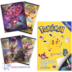 Pokemon spelletjesboek met stickers + Pokémon Sword & Shield Rebel Clash & Darkness Ablaze Mini Portfolio + Pikachu Sleutelhanger + 3 Pokémon Stickers