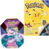 Pokemon spelletjesboek met stickers + Pokémon Kaarten Spring V Tin 2021 Slowbro + Pikachu Sleutelhanger + 3 Pokémon Stickers