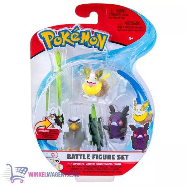 Pokémon Battle Figure Set - Sirfetch'd + Morpeko (Hangry Mode) + Yamper