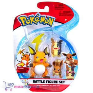 Pokémon Battle Figure Set - Raichu + Morpeko (Full Belly Mode) + Eevee