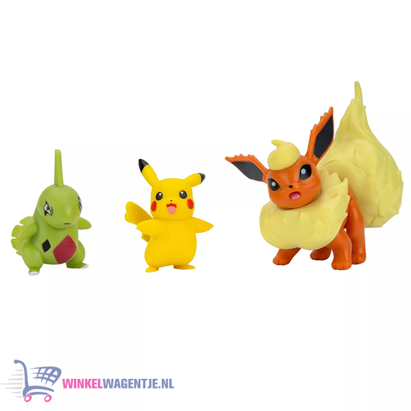 Pokémon Battle Figure Set - Flareon + Larvitar + Pikachu