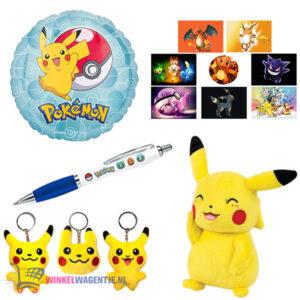 Pokémon Ballon + Pikachu Pluche Knuffel 20 cm + Pikachu Sleutelhanger + Pokémon Pen + 5 Pokémon Stickers!