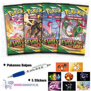 Pokémon Kaarten (30 st.) Sword & Shield Evolving Skies (3 Boosterpacks) + Pokemon Balpen + 5 Pokemon Stickers