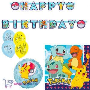 Pokémon Verjaardag Birthday Pakket: Ballon + Slingers + Servetten