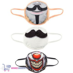 Mondmasker set van 3 (Clown + Snor + Anonymous)