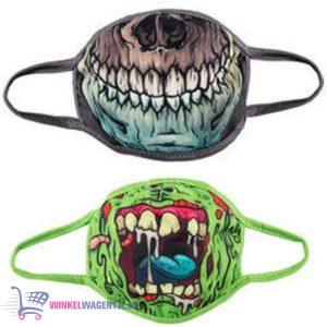 Mondmasker set van 2 (Zombie + Skull) (Ook leuk als verkleding)